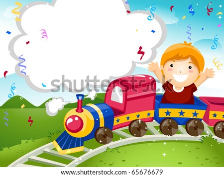 Party Invitation Featuring a Kid Riding on a Toy Train - stock vector