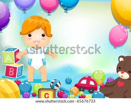 Party Invitation Featuring a Kid Surrounded by Toys and Balloons - stock vector