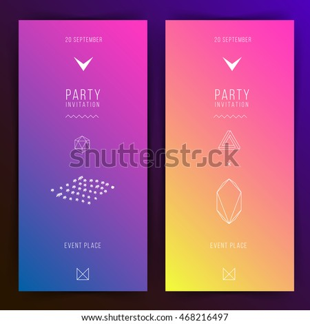Party Invitation Two Variations Gradient Background Flat Design Geometric Elements Abstract Illustration