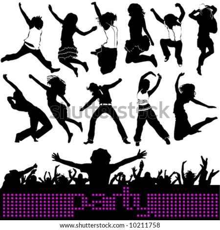 party, jumping people - stock vector