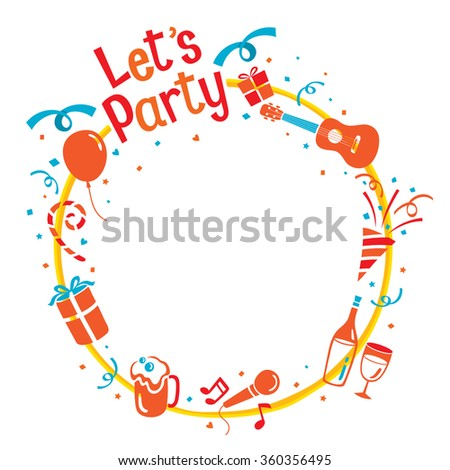 Party Letter, Icons And Pennant Flag On Circle Frame, Calligraphy, Banquet, Feast, Celebration - stock vector