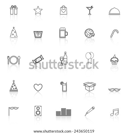 Party line icons with reflect on white background, stock vector - stock vector