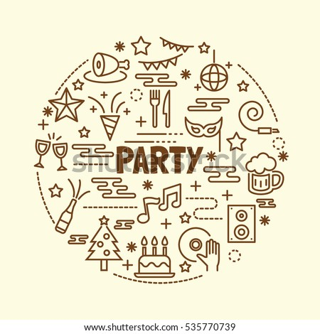 party minimal thin line icons set, vector illustration design elements