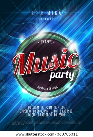 Party neon sign. Abstract background. Music party. Vector illustration. - stock vector