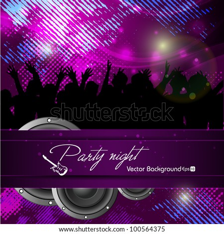 Party night background with dancing people silhouette, can be use as flyer, banner or poster for discotheque, party and other events. EPS 10. Vector illustration. - stock vector