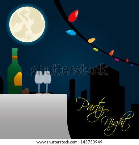 party night over sky background vector illustration - stock vector