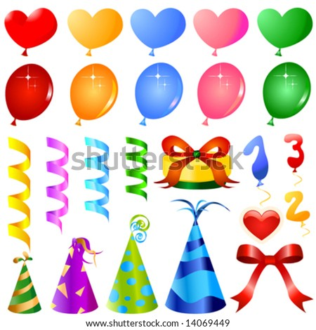 party objects great set vector - stock vector