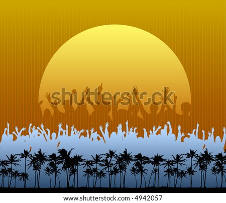 Party on the Beach - stock vector