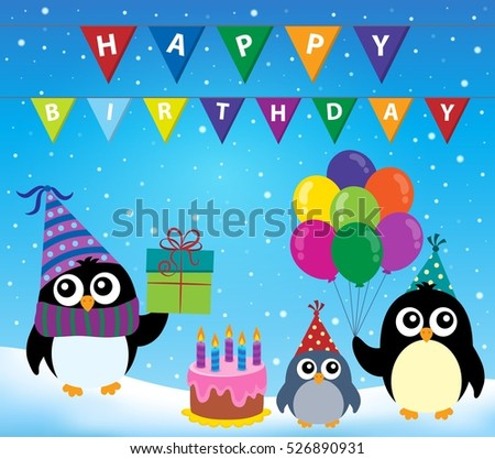Party penguin theme image 2 - eps10 vector illustration.