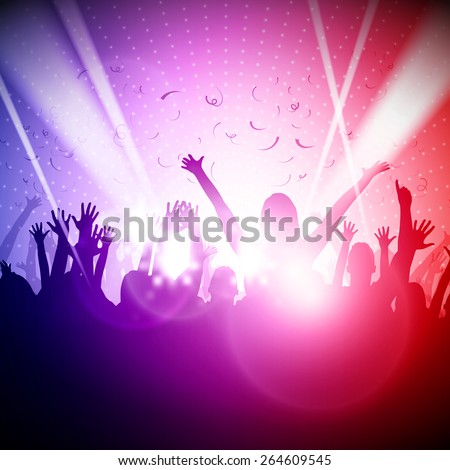 Party People in Club | Vector Background - EPS10 Editable Design