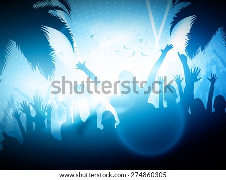 Party People on Beach | Vector Background - EPS10 Editable Design - stock vector