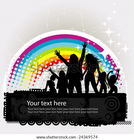 Party peoples against a rainbow, audience cheering success vector background - stock vector