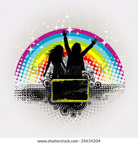 Party peoples against a rainbow, audience cheering success vector background 2 - stock vector
