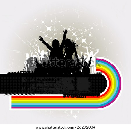 Party peoples, audience cheering success with rainbow vector background - stock vector