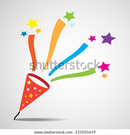 Party popper explosion , vector EPS 10. - stock vector