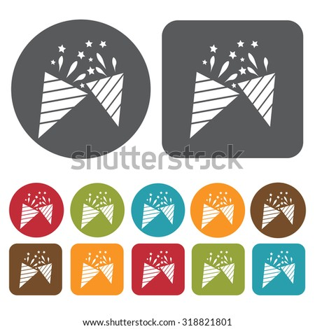 party poppers icon set. Vector Illustration eps10.  - stock vector
