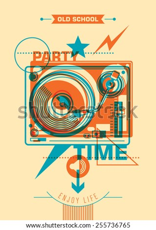Party poster design with abstraction. Vector illustration. - stock vector
