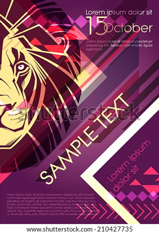 Party poster design with big cat - stock vector