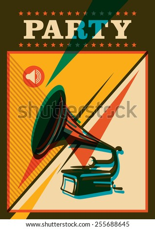 Party poster design with phonograph. Vector illustration. - stock vector