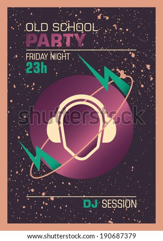 Party poster design with retro elements. Vector illustration. - stock vector