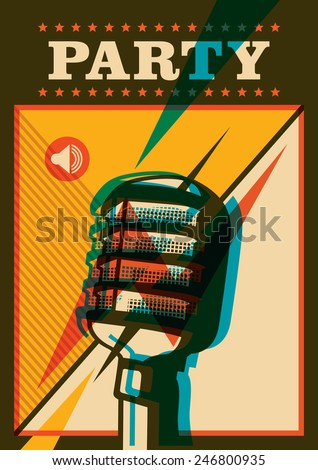 Party poster with retro microphone. Vector illustration. - stock vector