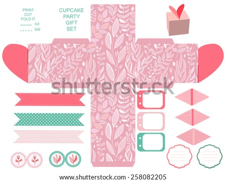 Party set. Gift box template.  Abstract floral pattern, country roses. Empty labels and cupcake toppers and food tags.  - stock vector
