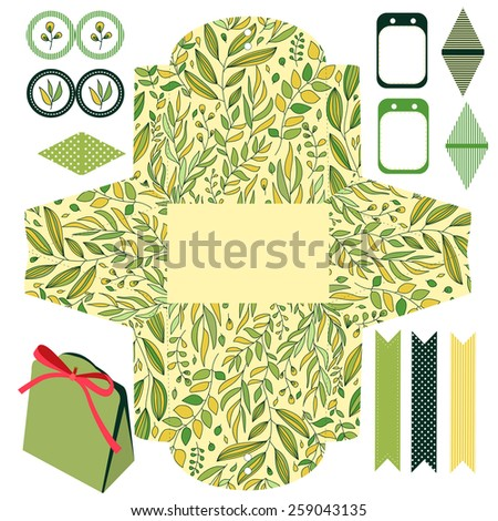 Party set. Gift box template.  Abstract floral pattern, leaves and branches. Empty labels and cupcake toppers and food tags.  - stock vector