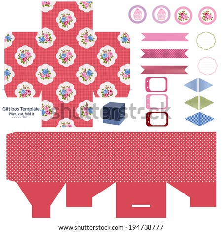party set gift box template abstract floral shabby chic pattern classic country roses