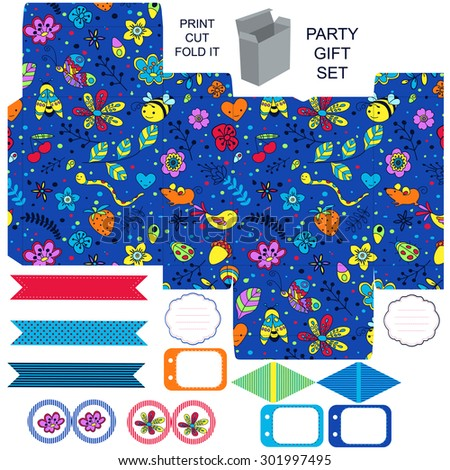 Party set. Gift box template.  Abstract flowers and insects pattern. Empty labels and cupcake toppers and food tags.  - stock vector
