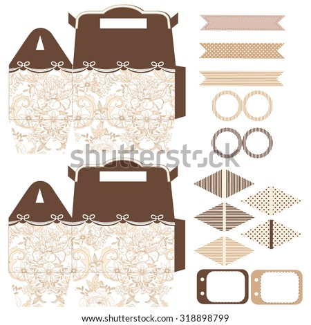 Party set. Gift box template.  Abstract vintage floral pattern with peonies. Empty labels and cupcake toppers and food tags.  - stock vector