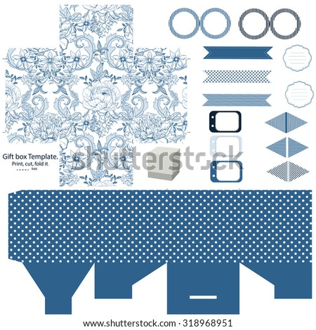 party set gift box template abstract vintage floral pattern with peonies empty labels