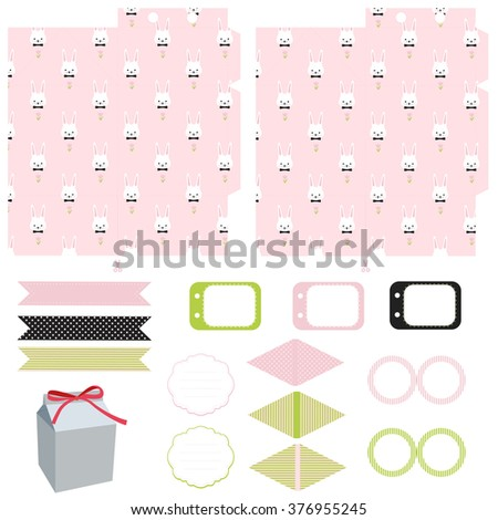 Easter party set gift box template stock vector 376955263 gift box template empty labels and cupcake toppers and food tags negle Images