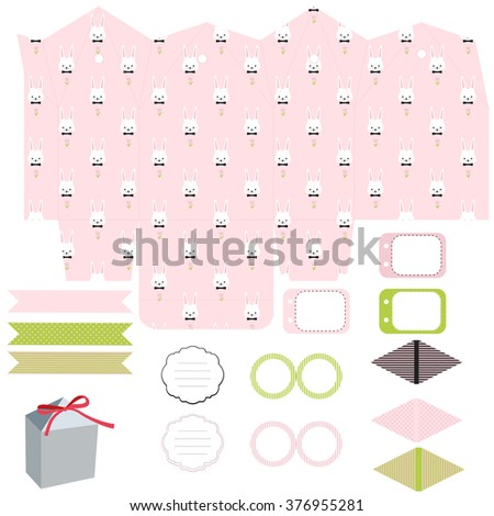 Party set gift box template empty stock vector 376955236 gift box template empty labels and cupcake toppers and food tags negle Images
