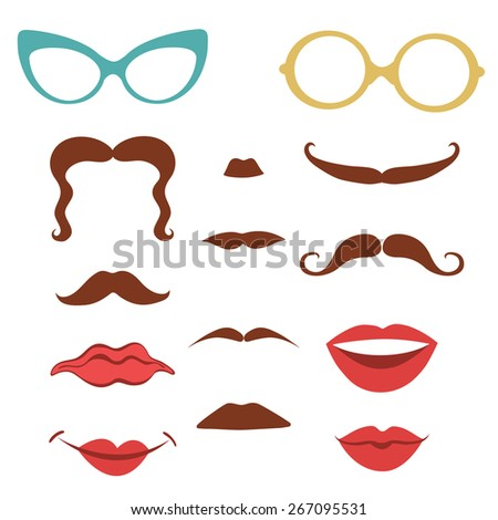Party set  with mustaches, lips, eyeglasses design elements  in vector format - stock vector