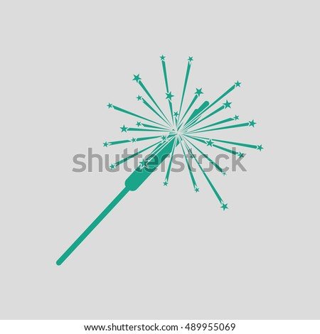 Party sparkler icon. Gray background with green. Vector illustration.