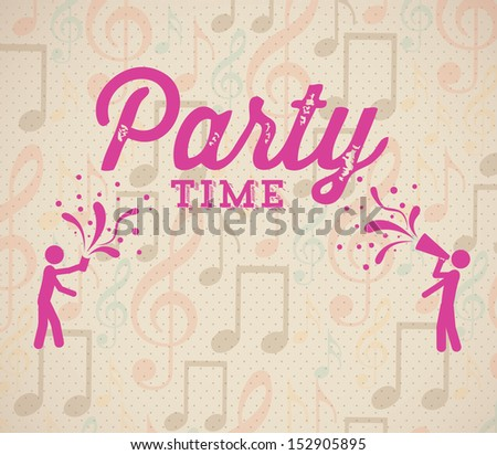party time over music pattern background vector illustration  - stock vector