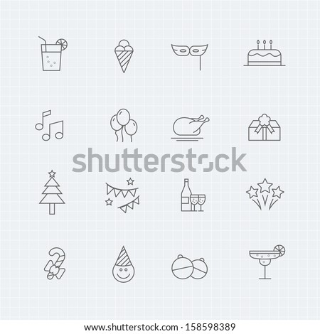 Party vector thin line symbol icon  - stock vector