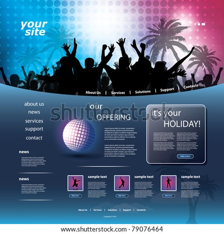 Party Website Template - stock vector