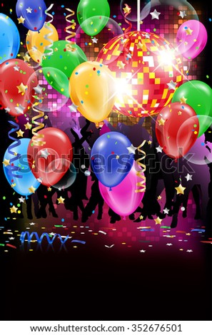 Party with disco ball, flying bubbles, balloons and confetti - place for your text. Vector illustration. - stock vector