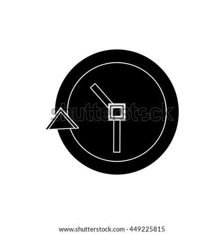 Passage of time on the wall clock flat icon silhouette - stock vector