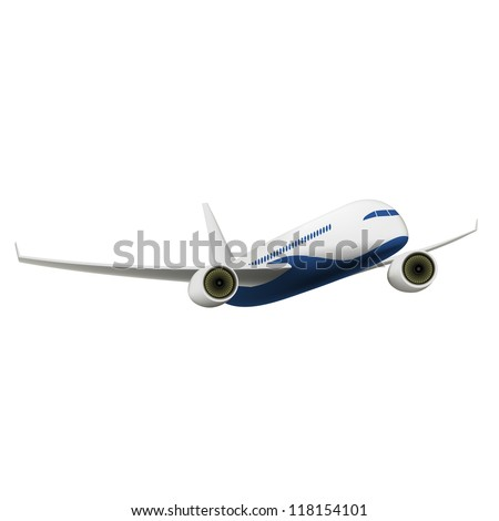 Passenger Airplane isolated on white. Vector Illustration - stock vector