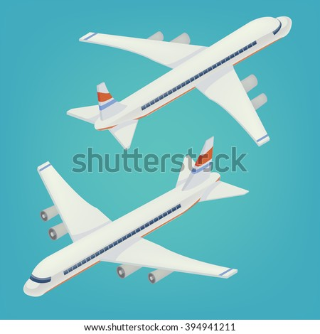 Passenger Airplane. Passenger Airliner. Airplane freight. Isometric Concept. Transportation Mode. Aircraft Vehicle. Vector illustration - stock vector