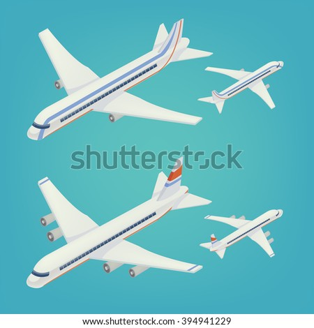 Passenger Airplane. Passenger Airliner. Airplane freight. Isometric Concept. Transportation Mode. Aircraft Vehicle. Set of Planes. Vector illustration - stock vector