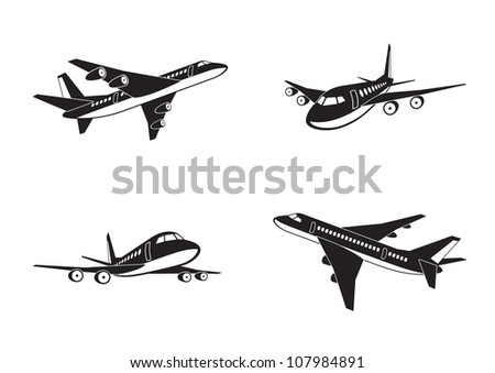 Passenger airplanes in perspective - vector illustration - stock vector