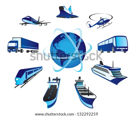 Passenger and cargo transportations around the world - vector illustration - stock vector