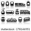 Passenger and public transport black icons with reflection, vector illustrations - stock vector