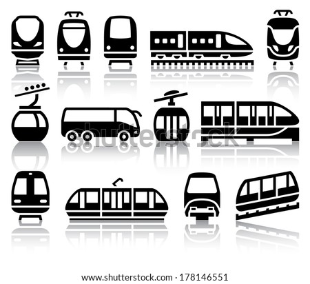 Passenger and public transport black icons with reflection, vector illustrations