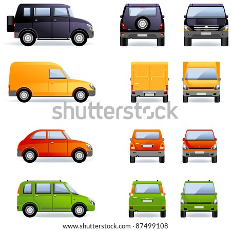 Passenger cars (Set #4). Set of the car icons in vector.    - stock vector