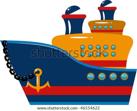 Passenger cruise ship over white - stock vector