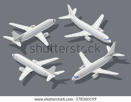 Passenger's airliner high quality detailed flat isometric vector illustration. Modern 3d airplane all around symbols. Elements for product promotion, presentation and infographics isolated on gray - stock vector